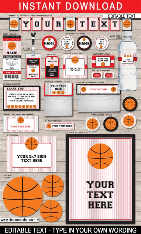 basketball team colors black basketball printables invitations decorations
