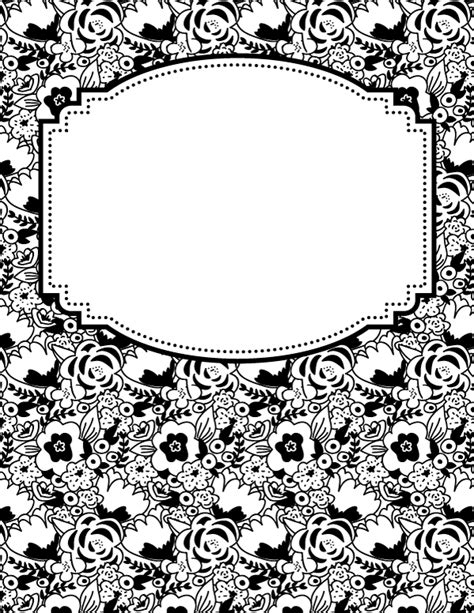 black and white binder cover templates free printable black and white flower binder cover