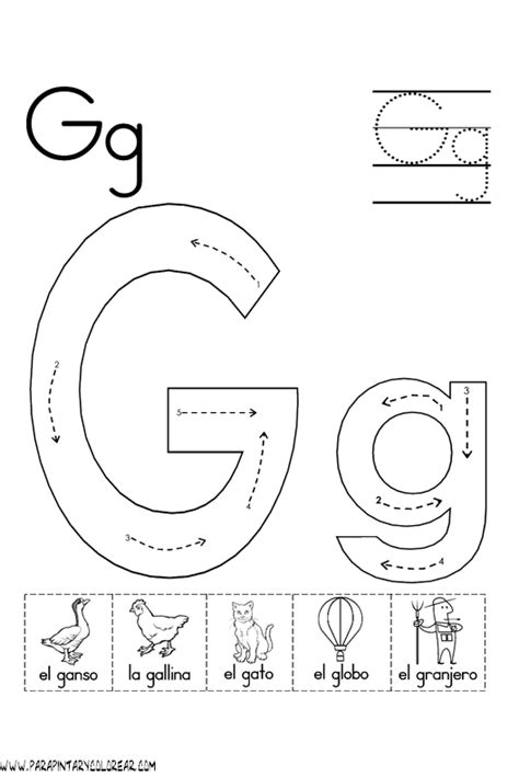 imagenes que empiecen con la letra g en ingles el abecedario dibujos para colorear ciclo escolar