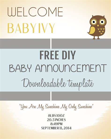 Free Birth Announcement Template by Diy Baby Announcement Template Baby Announcements