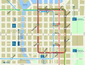 Street Map Of Downtown Chicago by Downtown Chicago Rail Transit Map