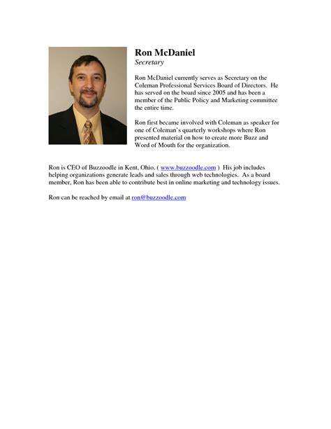 Business Bio Template best photos of professional biography template exles