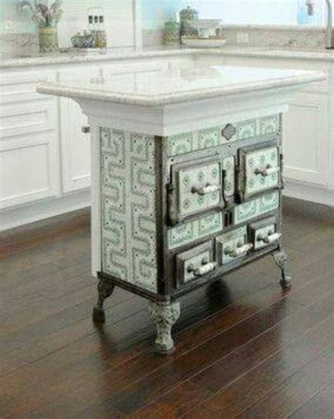 antique kitchen islands antique stove recycled as kitchen island home to dos