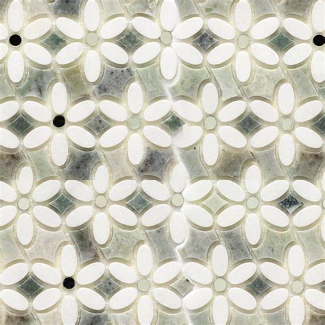 Marble Mosaic Floor Tile Splashback Tile Steppe Mutisia White Thassos And Ming Green Marble Waterjet Mosaic Floor And