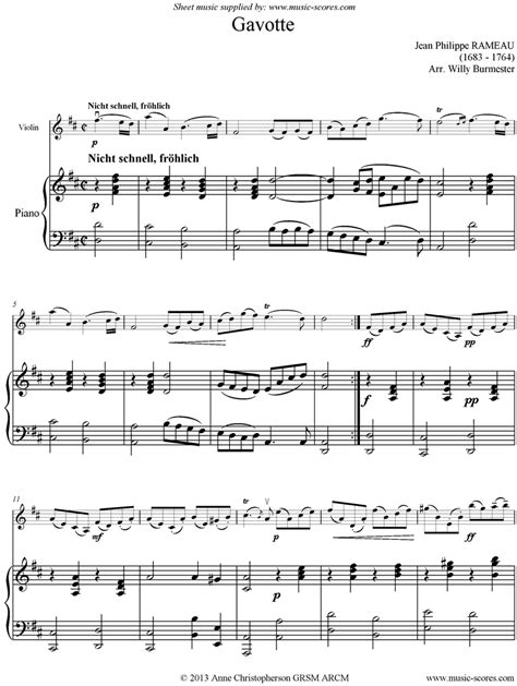 gavotte song in the musical based on george bernard shaws pygmalion and the 1964 film adaptation of the same name gavotte violin piano sheet music by jean philippe rameau