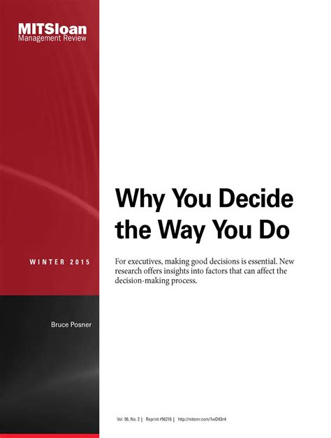 Why Did You Decide To Do An Mba by Why You Decide The Way You Do Mit Smr Store
