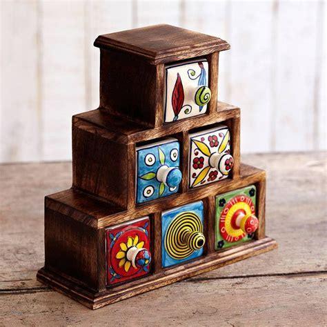 Handmade Pyramid Six Drawer Trinket Box   Cajas / Frascos