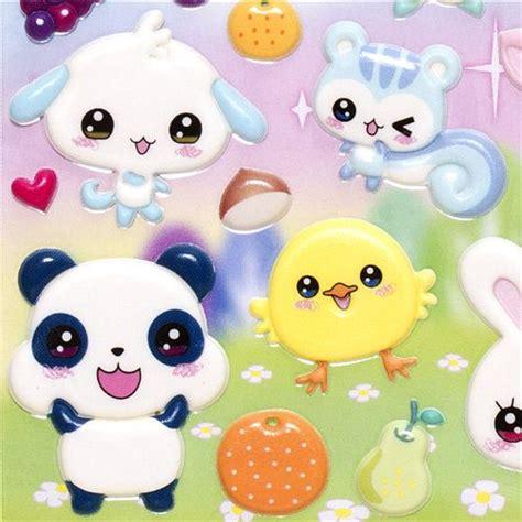 imagenes de animales kawai puffy stickers with kawaii animals rabbit cat bear