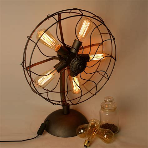 vintage looking desk fan industrial fan table l macer home decor