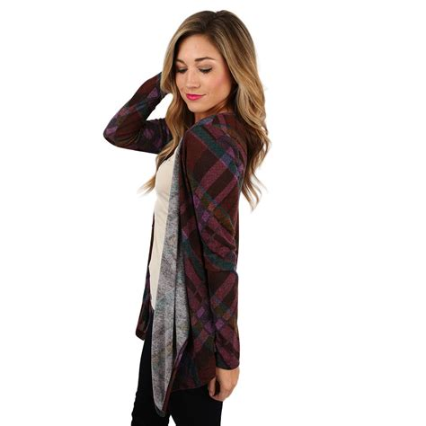 Spandex Rayon Shawl Cardigan Standard Size Kardigan Cardi Kks3 pretty in plaid cardigan in purple impressions