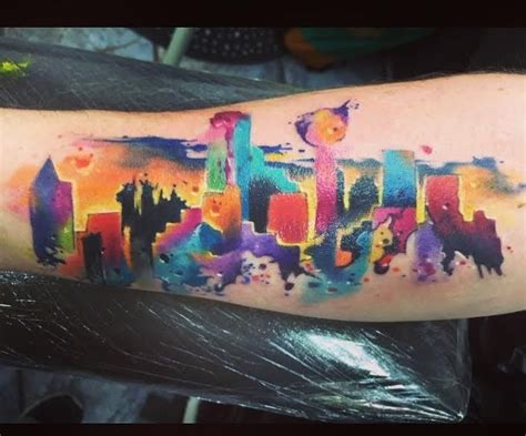 watercolor tattoos cincinnati dallas skyline watercolor watercolors watercolor