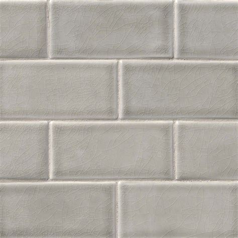 Handcrafted Tile - 3 in x 6 in dove gray glazed handcrafted tile