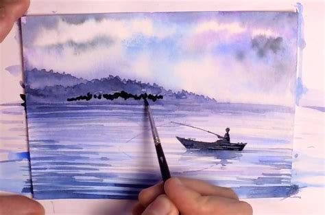watercolor lake tutorial speed painting watercolor painting how to paint a