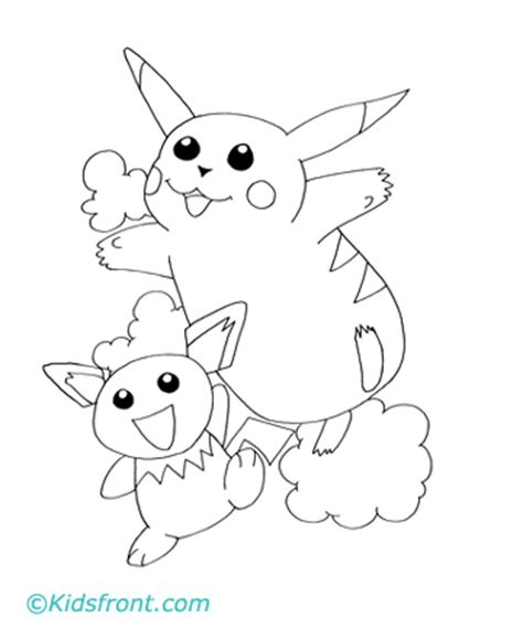 coloring pages of baby pikachu free coloring pages