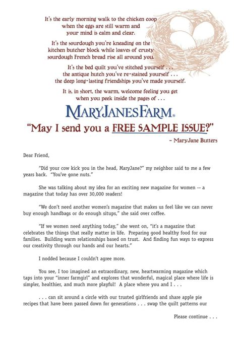 direct mail sales letter maryjanesfarm pulled