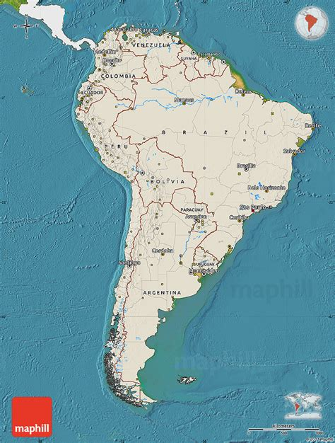 america relief map shaded relief map of south america single color outside