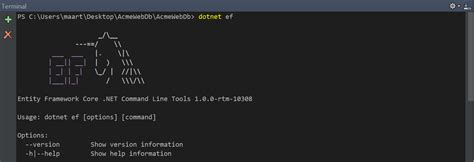 command line pattern matching running entity framework core commands in rider net