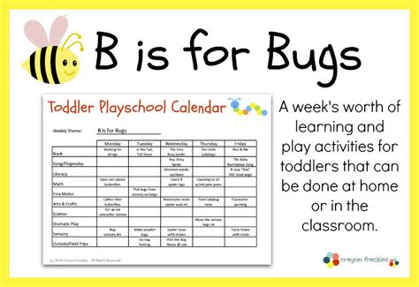 printable lesson plan for toddlers crayon freckles toddler playschool b is for bugs lesson