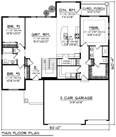 one level floor plans ranch style house plan 3 beds 2 baths 1796 sq ft plan 70 1243 floor plan floor plan