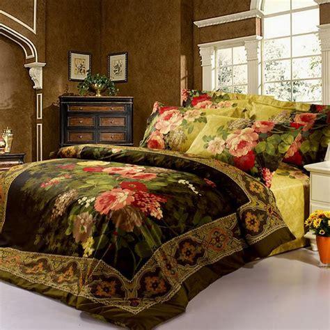 oil printed painting dark green red bedding set flower bed clothes queen comforterduvet