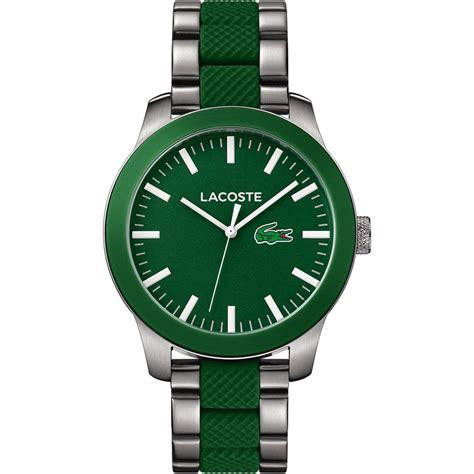 lacoste s 12 12 steel green rubber bracelet
