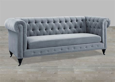 Grey Velvet Sofa Button Tufted Tufted Gray Sofa
