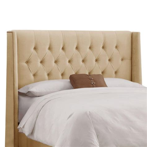 Upholstered Headboard King Skyline Furniture Upholstered King Headboard In Velvet Buckwheat The Home Depot Canada
