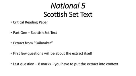national 5 english success sailmaker by alan spence national 5 english scottish set text