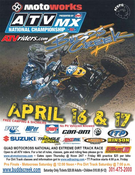 ama atv motocross schedule 2011 ama atv motocross comes to budds creek mx for round 4