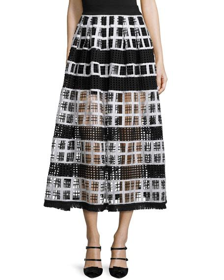 albina mesh knit midi skirt black white