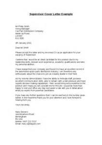 Cover Letter For Supervisor Position by Distribution Cover Letter