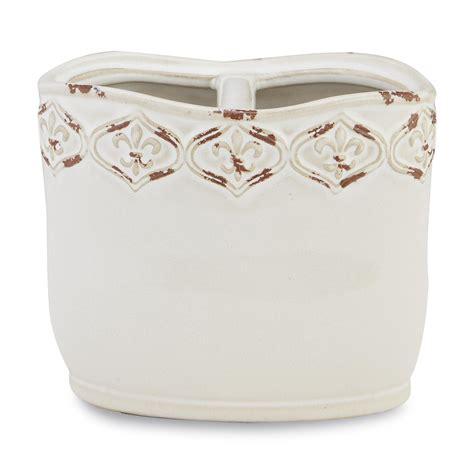 essential home ceramic toothbrush holder fleur de lis