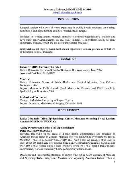 Mph Mba Linkedin by Dr Akintan Folorunso Resume October 2014 Linkedin Doc