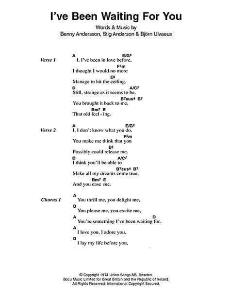 I've Been Waiting For You sheet music by ABBA (Lyrics