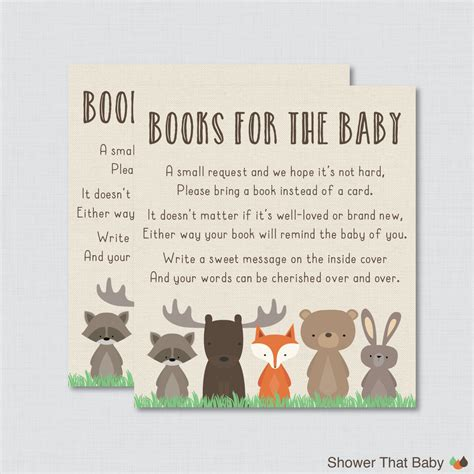 Baby Shower Invitations Books Instead Of Cards by Woodland Baby Shower Bring A Book Instead Of A Card Invitation