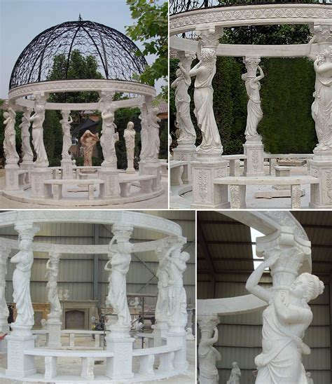 cheap high quality Egyptian beige marble pavilion gazebo