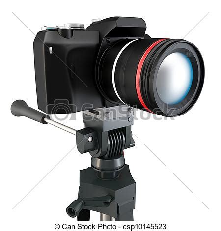 clip art of 3d detailed camera on tripod on white