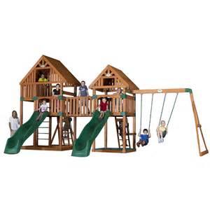 Backyard Discovery Vista Cedar Swing Set Shop Backyard Discovery Vista All Cedar Wood Playset With