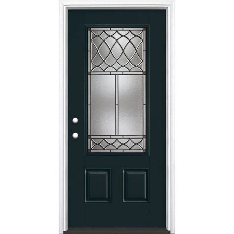 Shop Masonite Sheldon Decorative Glass Right Hand Inswing Decorative Glass Entry Doors