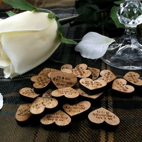 Details about Personalised Oak Love Heart Table