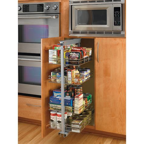 Pantry Drawers Lowes by Shop Rev A Shelf 8 88 In W X 20 In D X 50 38 In H 4 Tier Metal Pull Out Cabinet Basket At Lowes
