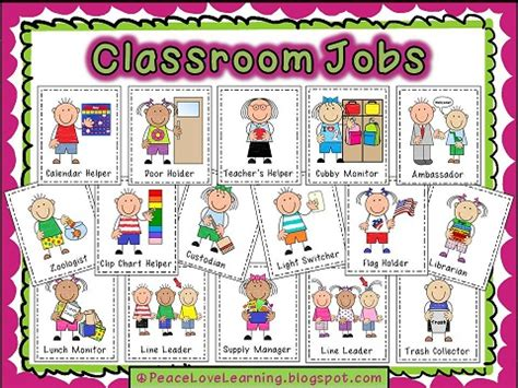 printable job cards for classroom peace love and learning september 2012