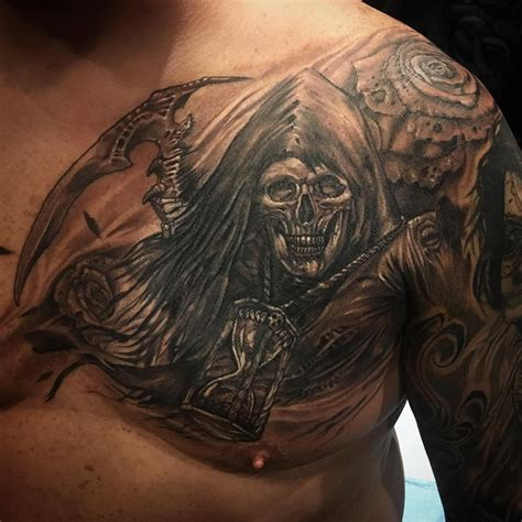 reaper tattoo grey ink grim reaper on chest by big gus ink