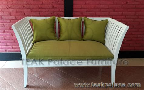 Sofa Santai Single bangku kayu jati minimalis modern boston murah warna putih