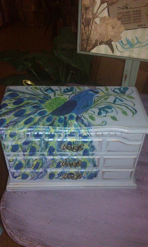 Jewely Armoire Painted Upcycled Jewelry Box Hand Painted Peacock My
