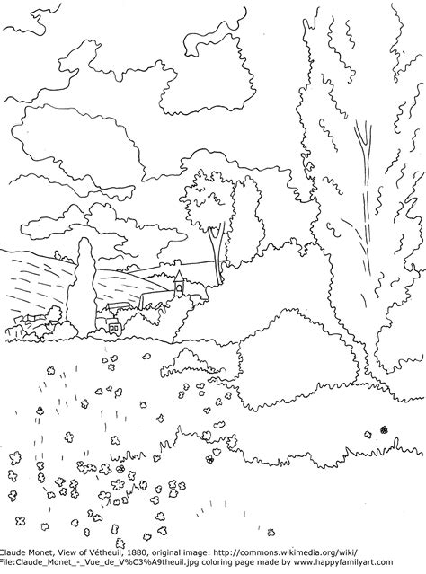 free claude monet coloring pages
