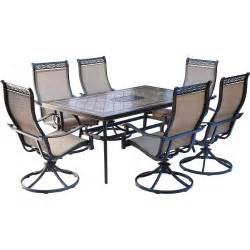 Dining Set With Swivel Chairs Oakland Living Tuscany 54 In 7 Patio Wicker Swivel Chair Dining Set 90094 90079