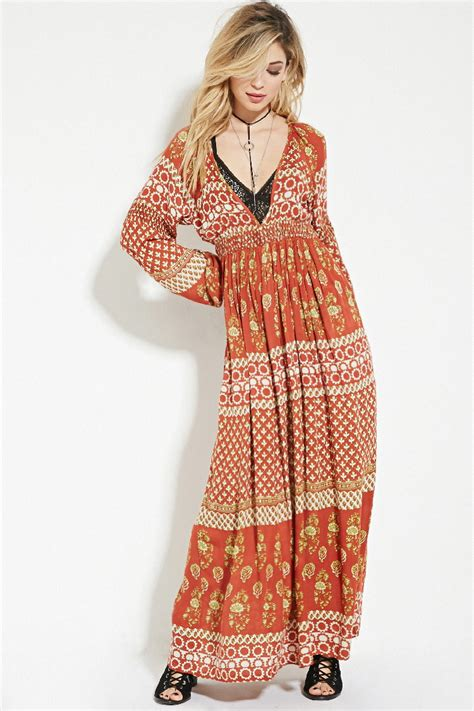forever 21 raga floral print maxi dress in brown lyst