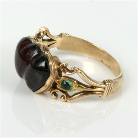 buy antique garnet emerald ring from the 1860 s sold