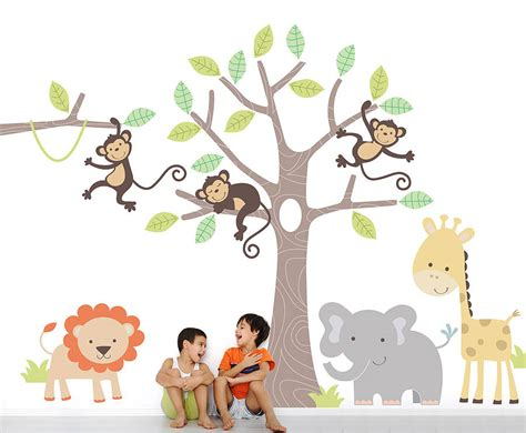 jungle stickers for walls children s jungle wall stickers by parkins interiors notonthehighstreet